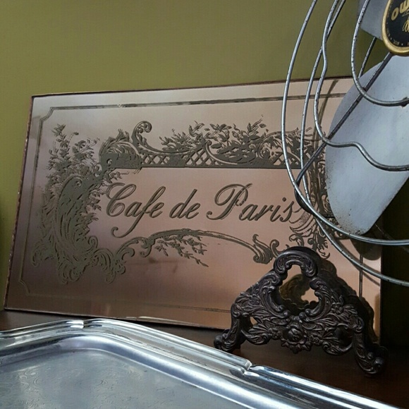 Antique Gold French Mirror Sign Decor Cafe Paris